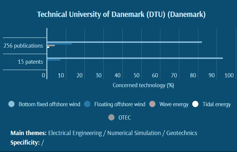 of patents and publications in Marine Renewable Energies