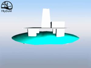 Figure 1 : Plateforme offshore dans la houle et le courant avec un contrôle en positionnement dynamique